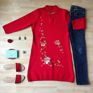 Dresses & Skirts - Embroidered embellished long sleeve sweater dress